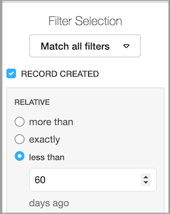 Dentally Patients Report Filter set to Record created less than 60 days ago