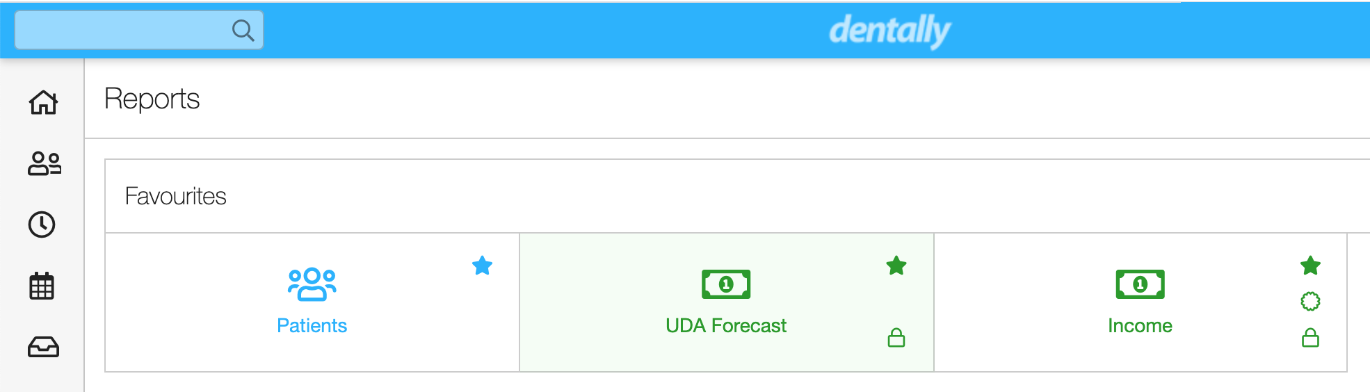 Dentally Screeshot - Patients, UDA forecast, Income as favourites