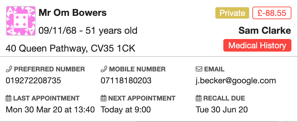 Dentally Patient Details from appointment screen-1