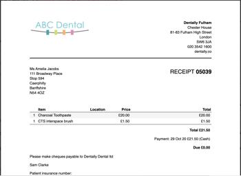 Dentally Screenshot Invoice showing Sundry items