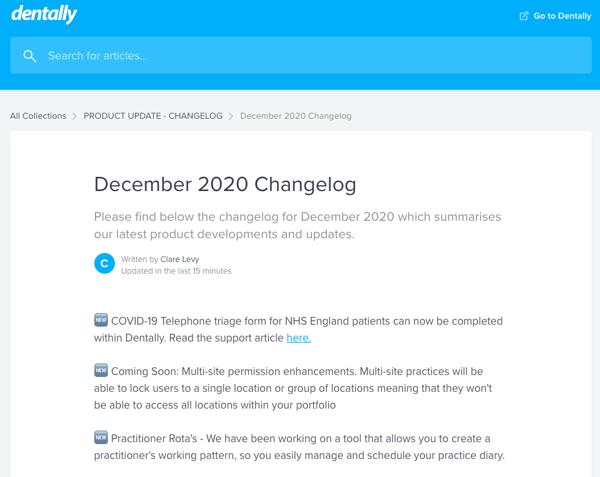 Changelog December 2020